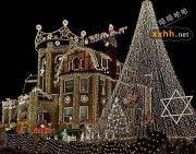 美丽的圣诞节彩灯布景~